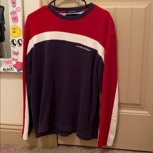 navy blue, white and red long sleeve